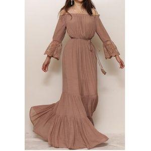 Mocha Brown Off Shoulder Lace Boho Maxi Dress